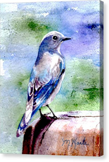 Firehole Bridge Bluebird - Female Canvas Print