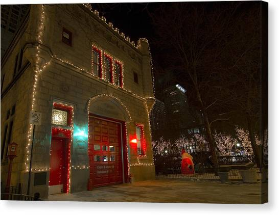 Firehouse In Xmas Lights Canvas Print