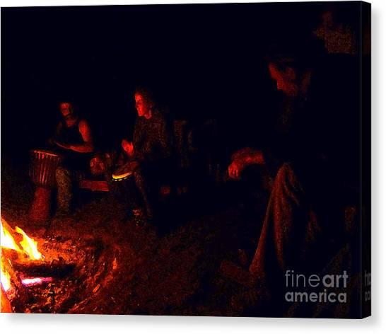Firelight Drumming Canvas Print by JoAnn SkyWatcher
