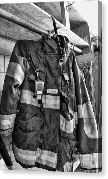 First Responders Canvas Print - Fireman - Saftey Jacket Black And White by Paul Ward