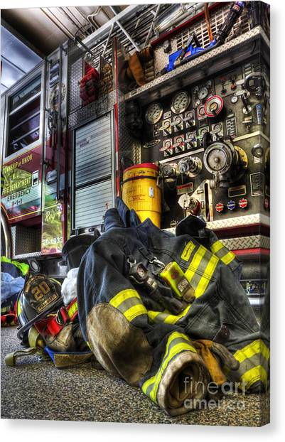 Affordable Canvas Print - Fireman - Always Ready For Duty by Lee Dos Santos