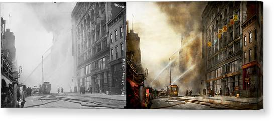 Nyfd Canvas Print - Fireman - Brooklyn Ny - Surpirse 1909 - Side By Side by Mike Savad