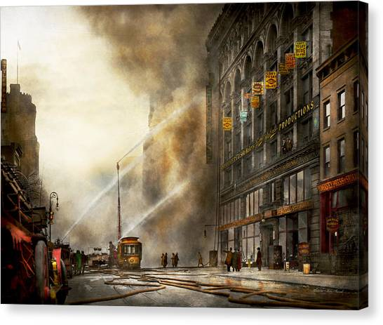Nyfd Canvas Print - Fireman - Brooklyn Ny - Surprise 1909 by Mike Savad