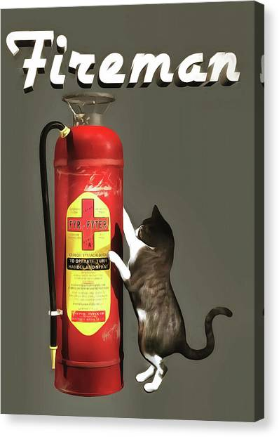 Canvas Print featuring the painting Fireman by Jan Keteleer