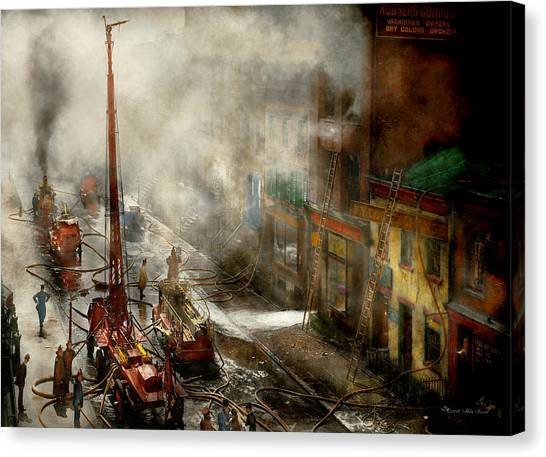Nyfd Canvas Print - Fireman - New York Ny - Big Stink Over Ink 1915 by Mike Savad