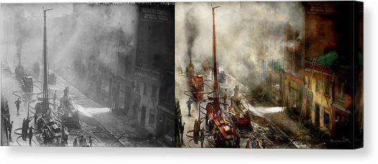 Nyfd Canvas Print - Fireman - New York Ny - Big Stink Over Ink 1915 - Side By Side by Mike Savad