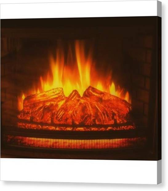 God Canvas Print - #fireplace #fire #flame #logs #wood by David Haskett II
