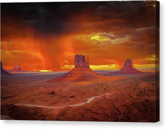 Firestorm Over The Valley Canvas Print