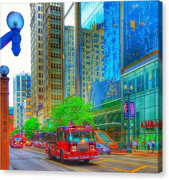 Canvas Print featuring the photograph Firetruck In Chicago by Marianne Dow