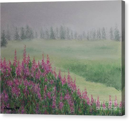 Fireweeds Still In The Mist Canvas Print