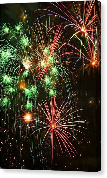 Pyrotechnics Canvas Print - Fireworks 4th Of July by Garry Gay
