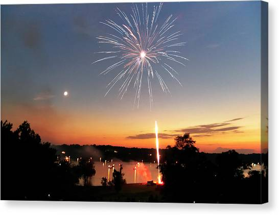 Fireworks And Sunset Canvas Print