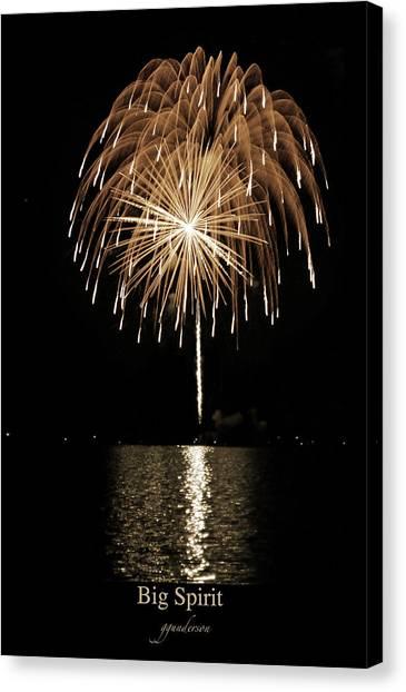 Fireworks At Big Spirit Lake Canvas Print