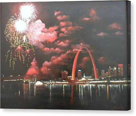 Fireworks At The Arch Canvas Print