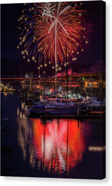 Fireworks At The Docks Canvas Print