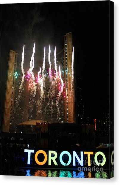 Toronto Raptors Canvas Print - Fireworks At Toronto City Hall by Nina Silver