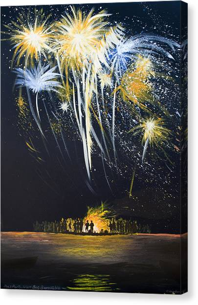 Fireworks Bonfire On The West Bar Canvas Print