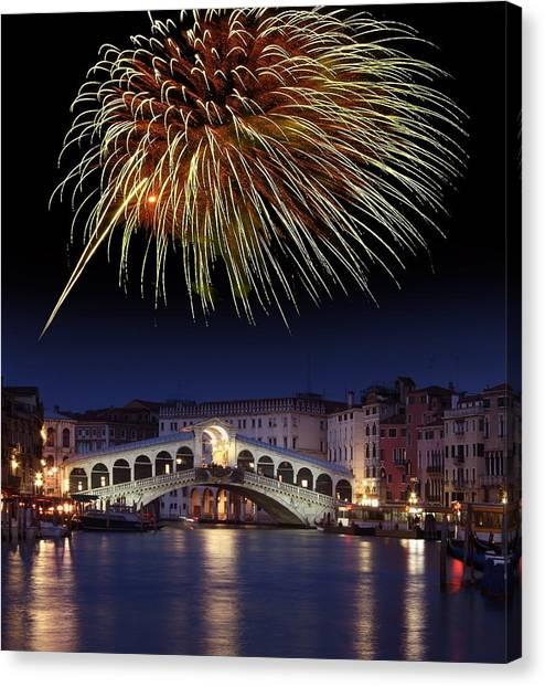 Fireworks Display, Venice Canvas Print by Tony Craddock