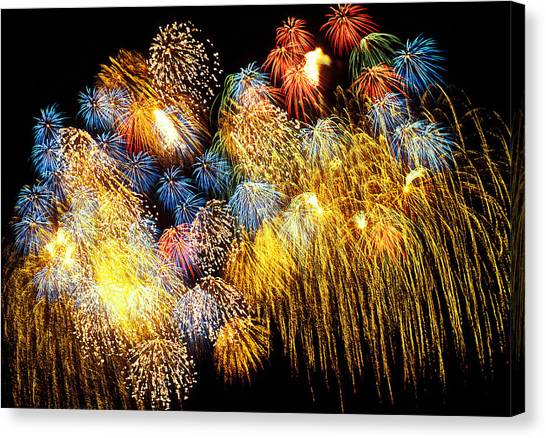 Pyrotechnics Canvas Print - Fireworks Exploding  by Garry Gay