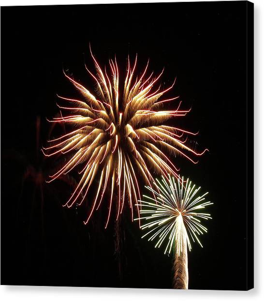 Fireworks From A Boat - 10 Canvas Print