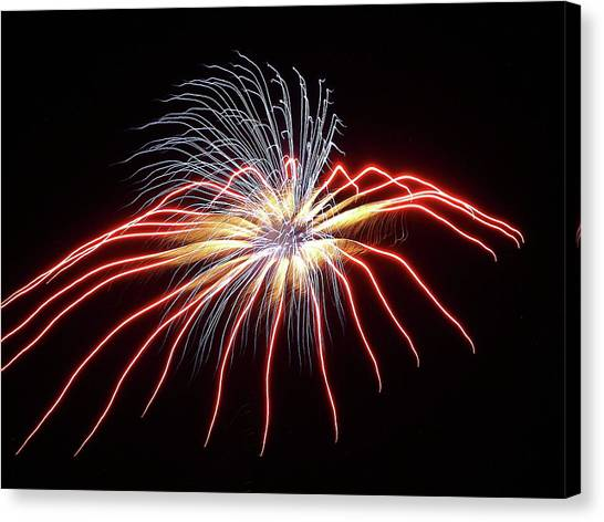 Fireworks From A Boat - 11 Canvas Print