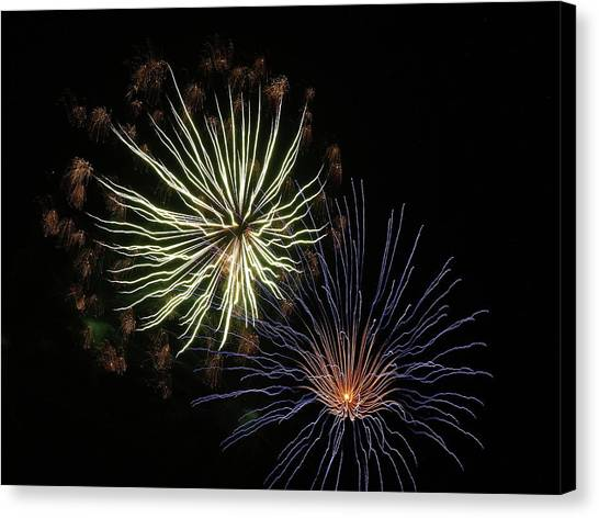 Fireworks From A Boat - 14 Canvas Print