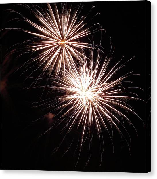 Fireworks From A Boat - 5 Canvas Print