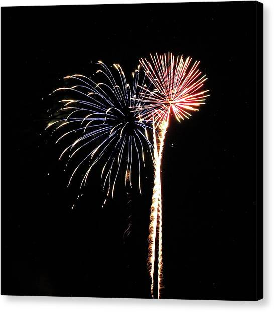 Fireworks From A Boat - 7 Canvas Print
