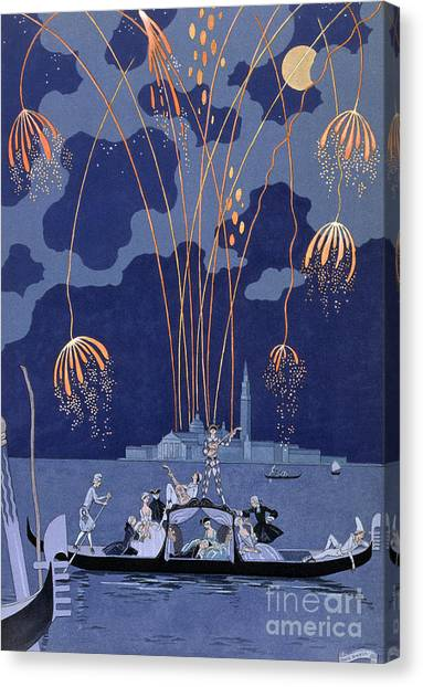 Fireworks Canvas Print - Fireworks In Venice by Georges Barbier