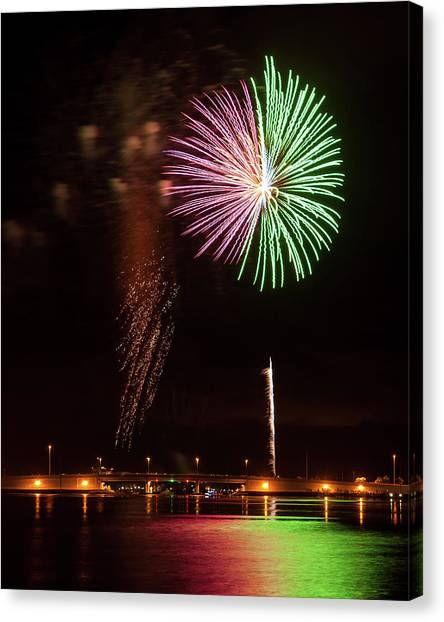 Fireworks Over Grand Lagoon Canvas Print