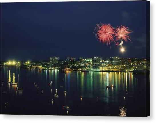 Nova Scotia Canvas Print - Fireworks Over Halifax Harbor Celebrate by James P. Blair