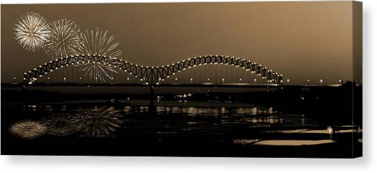 Fireworks Over The Mississippi Canvas Print