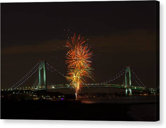 Fireworks Over The Verrazano Narrows Bridge Canvas Print