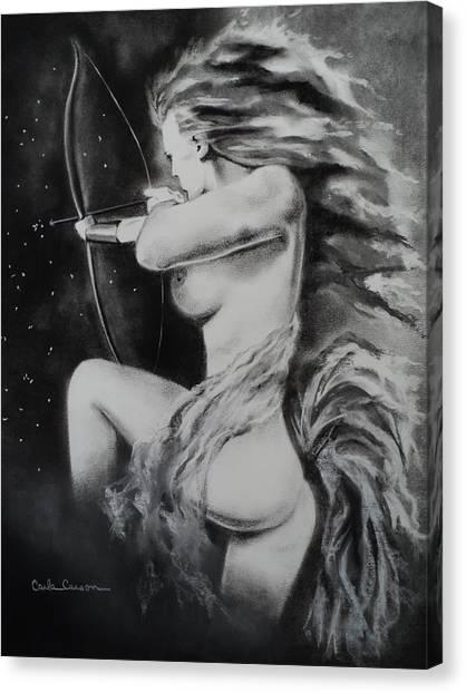 Firey Sagittarius Shooting Stars Canvas Print