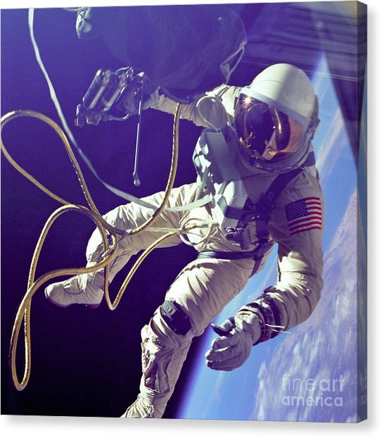 Outer Space Canvas Print - First American Walking In Space, Edward by Nasa