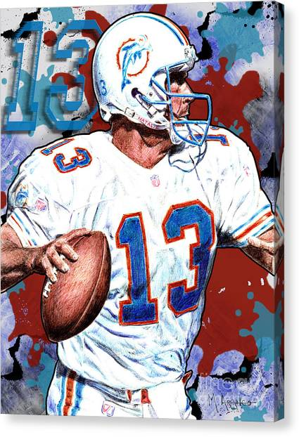 Dan Marino Canvas Print - First And Ten by Maria Arango