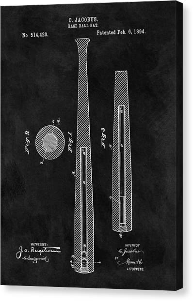 Lou Gehrig Canvas Print - First Baseball Bat Patent Illustration by Dan Sproul