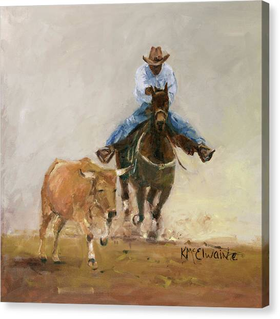 First Bulldogger Bill Picket Oil Painting By Kmcelwaine  Canvas Print