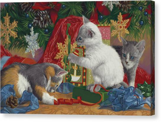 Kittens Canvas Print - First Christmas by Lucie Bilodeau