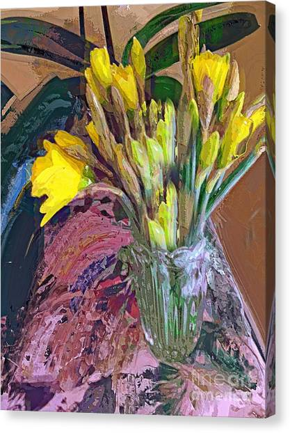 First Daffodils Canvas Print