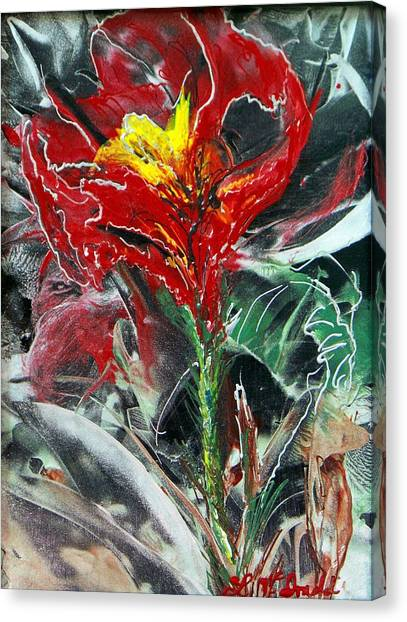 First Encaustic Canvas Print by Lynda McDonald