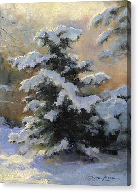 Pine Trees Canvas Print - First Heavy Snow by Anna Rose Bain