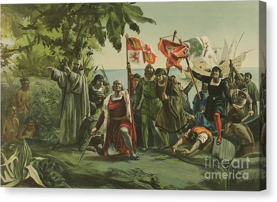 Currier And Ives Canvas Print - First Landing Of Columbus On The Shores Of The New World by Currier and Ives