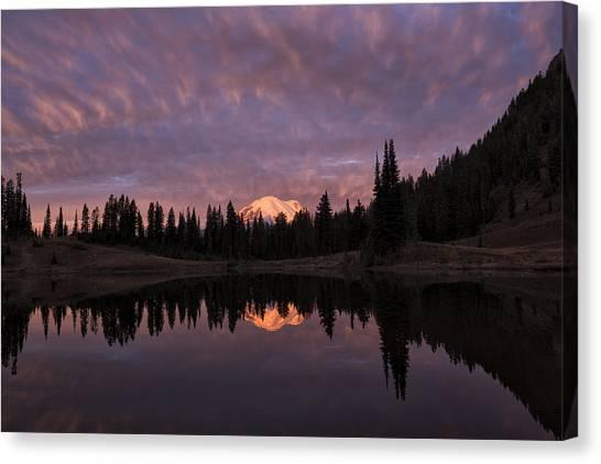 First Light On Mount Rainier Canvas Print