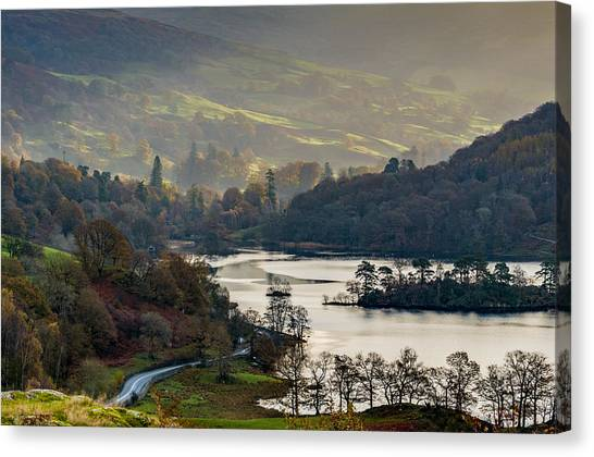 First Light Over Rydal Water In The Lake District Canvas Print