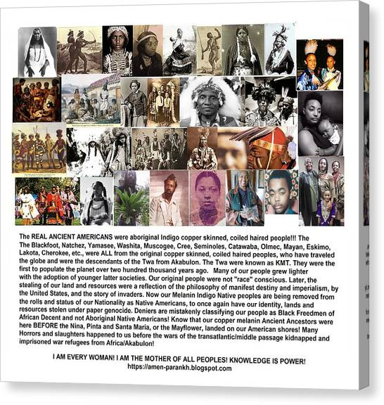 First Native Americans Were Indigo Twa Black Afrikans Canvas Print