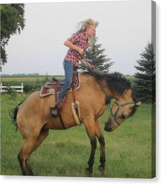 Saddles Canvas Print - First Of All, No, I Didnt Get Bucked by Neli Kvale
