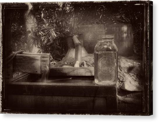 First Run Of Moonshine In Black And White Antiqued Canvas Print