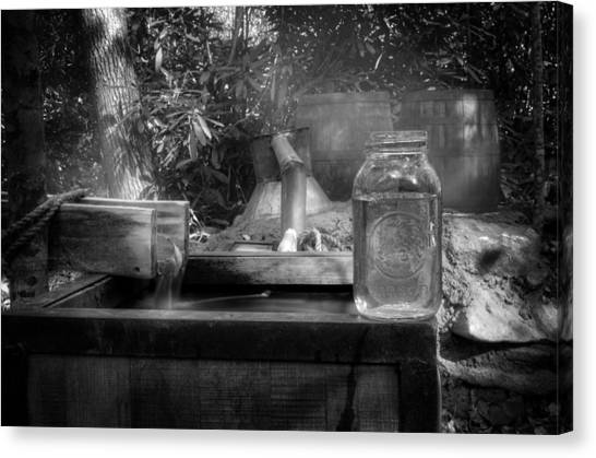 First Run Of Moonshine In Black And White Canvas Print