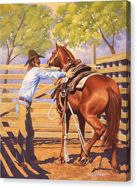 First Saddling Canvas Print